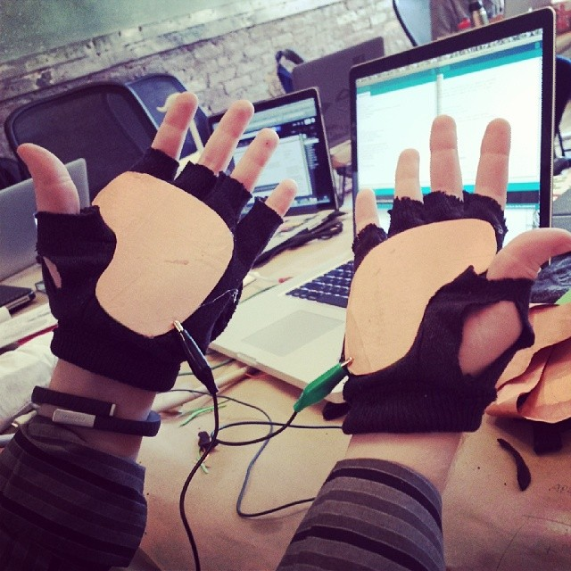 Controller gloves created in Kaho Abe's workshop